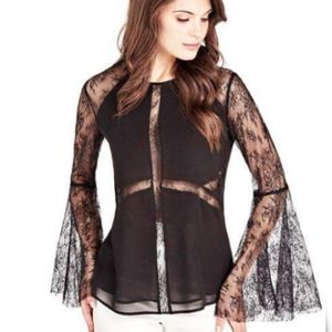 New GUESS BY MARCIANO Lace Sleeve Blouse SZ S